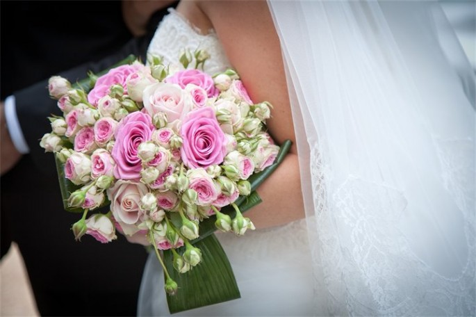 pink hand tied bouquet Florence Tuscany Italy