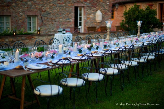 rustic wedding table flower arrangements in Tuscany