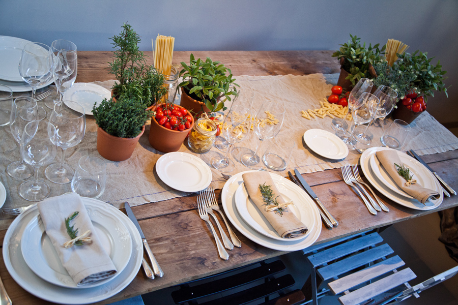 wooden table with rustic table centre