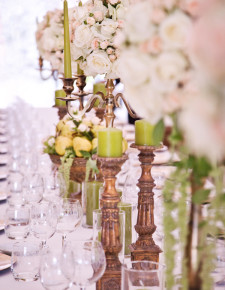 tall golden candebras centerpiece