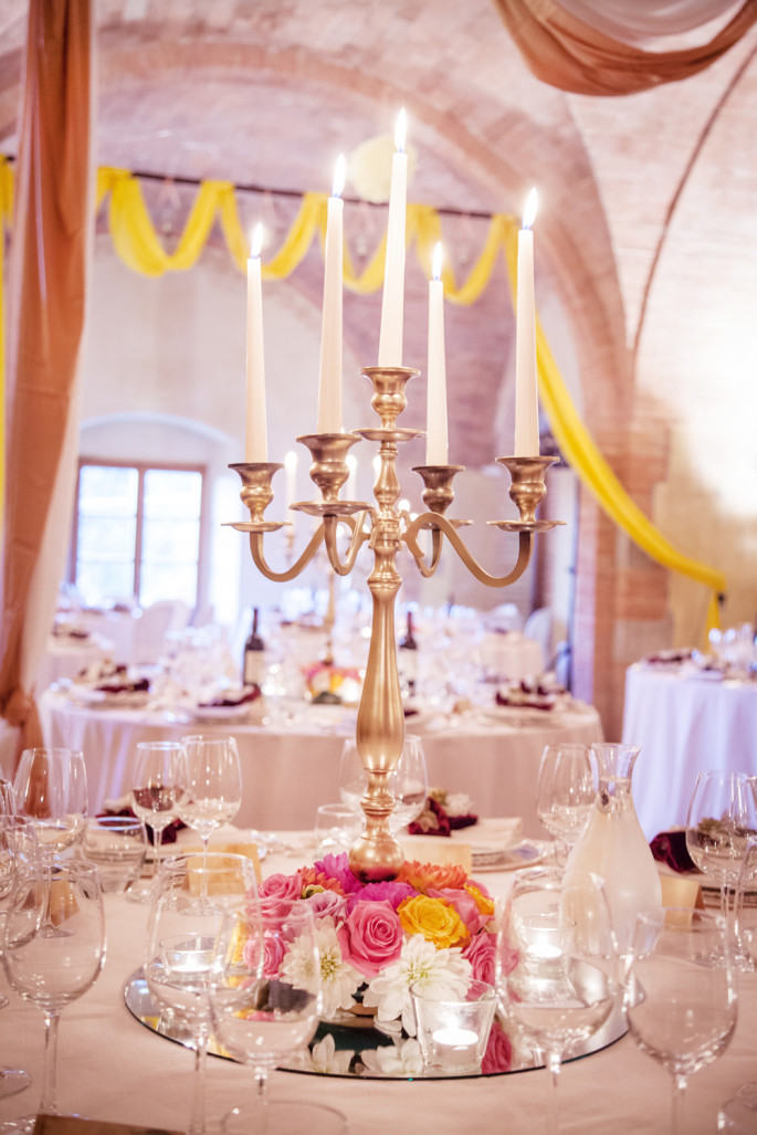 candelabra wedding centertable Siena Tuscany