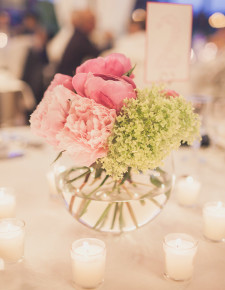 wedding flowers centertable with peonies
