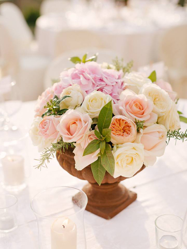 rustic centertable Tuscany wedding flowers