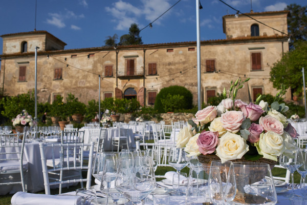 wedding reception flowers Tuscany