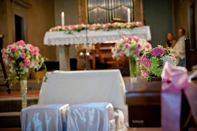 bright pink wedding flowers Tuscany