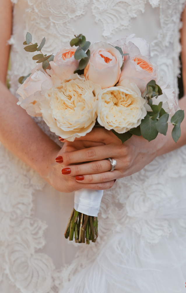 elegant bridal bouquet with David Austin English roses
