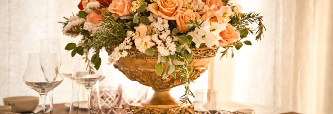lush wedding reception flowers Tuscany