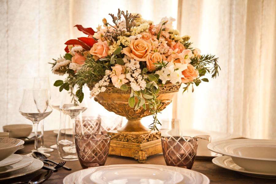 lush wedding reception flowers Tuscany