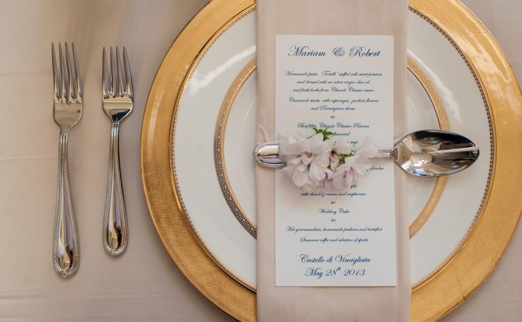 elegant golden table set up Tuscany