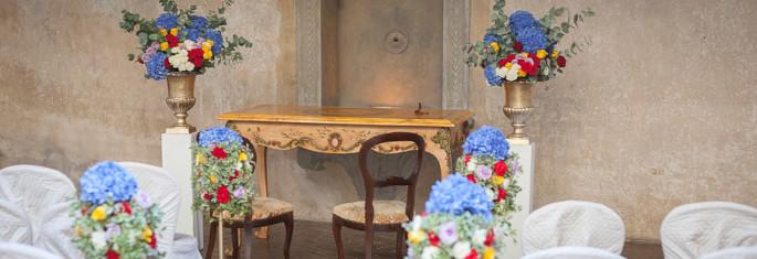 Wedding ceremony set up Montegufoni Castle Tuscany