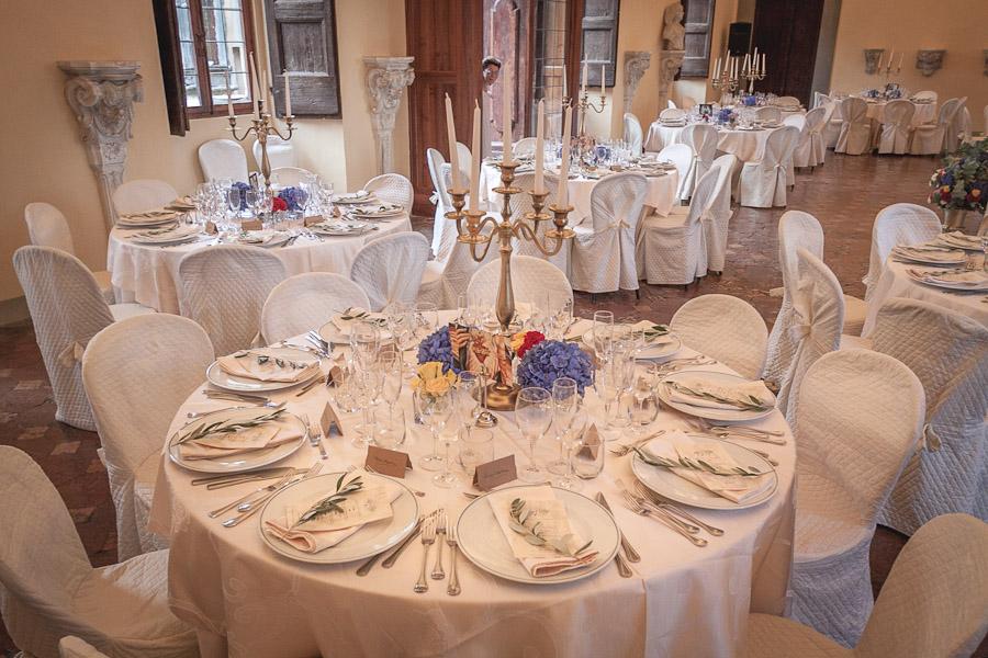 wedding reception flowers Montegufoni Castle Tuscany