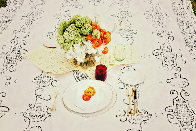 orange and tuscan yellow wedding centerpiece