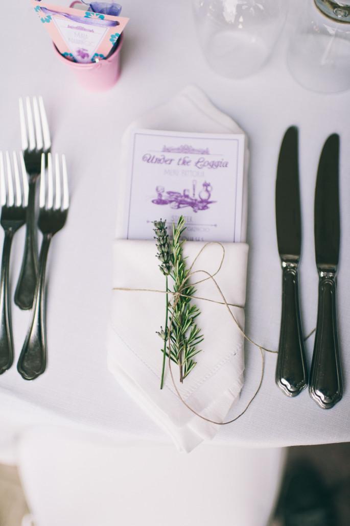 rustic napkin decor with lavender
