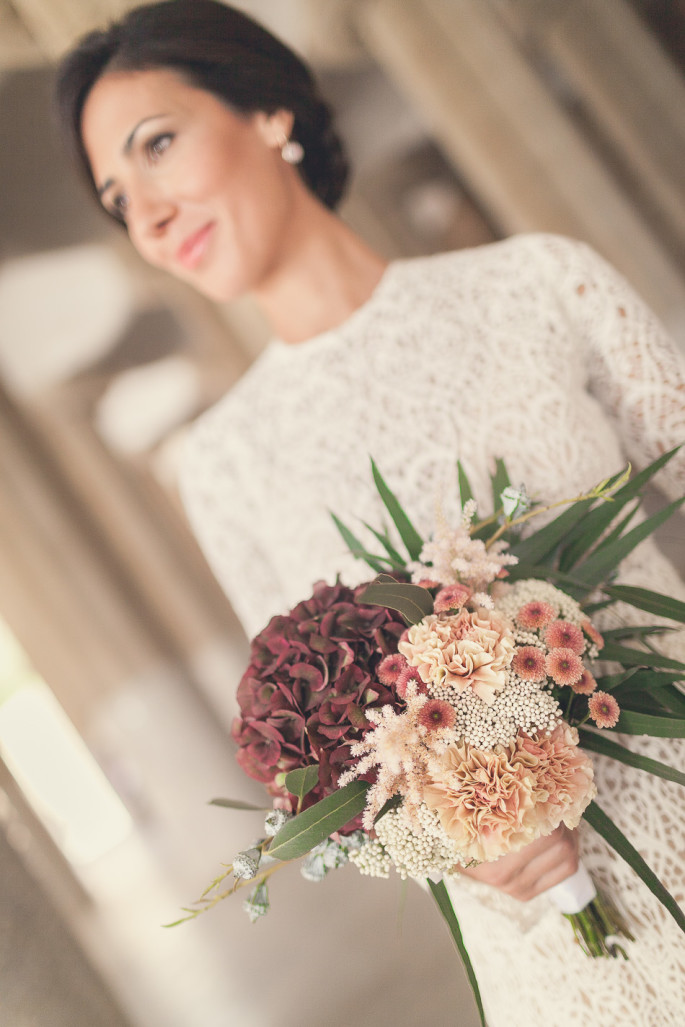 hand tied bridal bouquet Barcelona