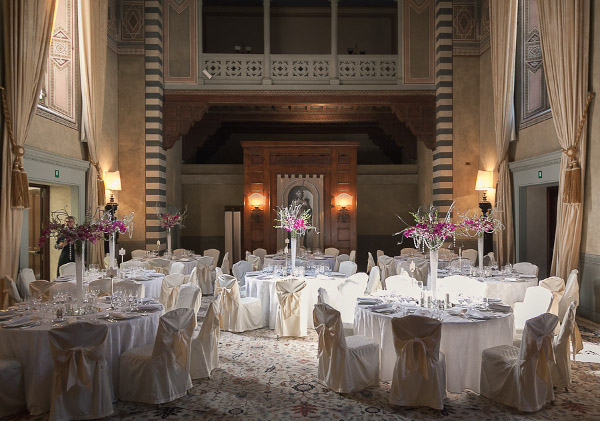 tall wedding reception Flowers Conventino Four Seasons